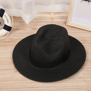 Shade Caps Jazz Hat Ribbon Round Flat Top Straw Beach Panama Hat Summer Hats For Men Women Straw Hats Snapback Gorras
