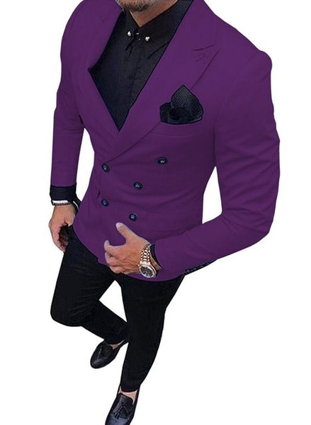 New Green Men's Suit Double-Breasted 2-Piece Suit Notch Lapel Blazer Jacket Tux & Trousers for Weeding , party