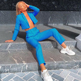 ZHYMIHRET Autumn New Neon Color Blazer And Pants Women Suits With Belt Short Jacket Office Work OL Women Suits Office Sets