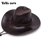YOYOCORN  Pu leather men's American wind big western cowboy hat ladies knight hat outdoor visor unisex breathable cap