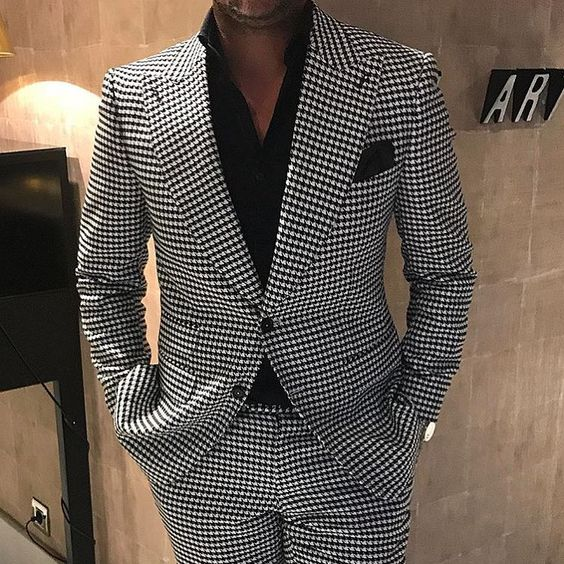 Suit Men Costume Homme Mariage 2 Pieces Suits Houndstooth Jacket With Pants Designers Terno Masculino Slim Fit Tuxedos