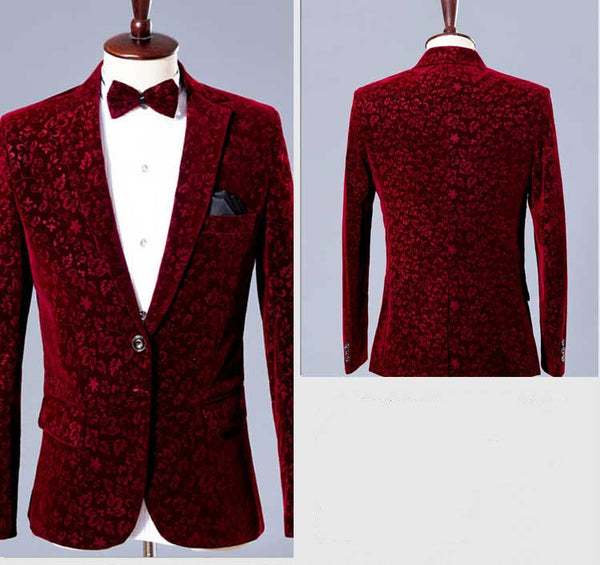 wedding party blazer jacket male costume men's prom Fashion Studio  singer party Christmas performance show fashion slim  wear