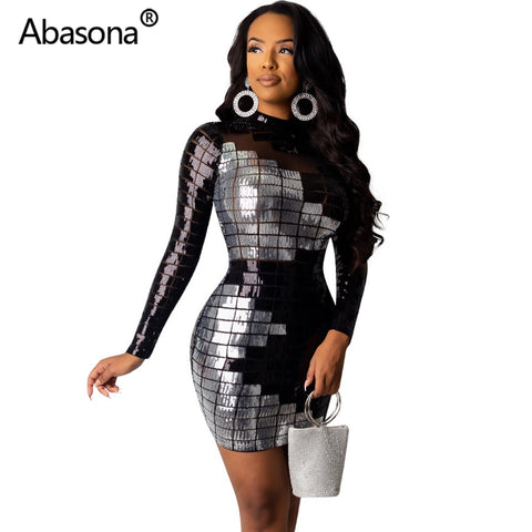 Autumn Women Winter Long Sleeve Geometric Sexy Bodycon Mini Dress Sheer Mesh Skinny Sequins Dresses Party Night Club