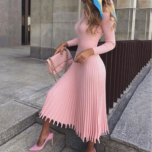 Elegant Party Pleated Sweater Dress Women  Winter Autumn Pink Office Ladies Midi Knitted Vestido Sexy Slim Plus Size Dresses