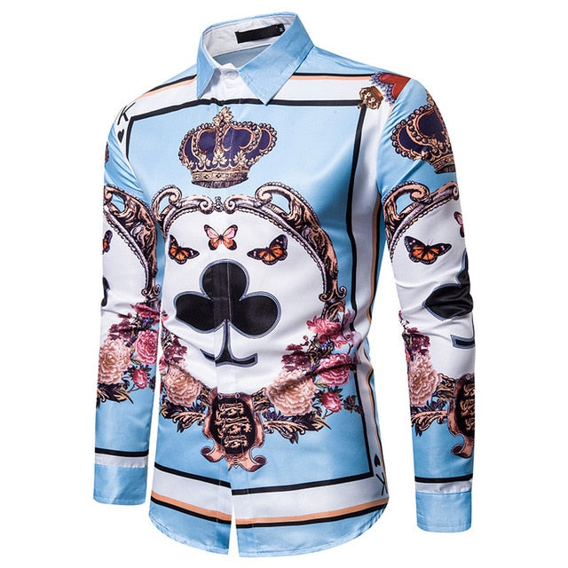 Luxury Floral Shirt Men Royal Crown Print Mens Shirts Casual Slim Fit Camisa Social Blue Baroque Party Formal Shirts For Men 3XL