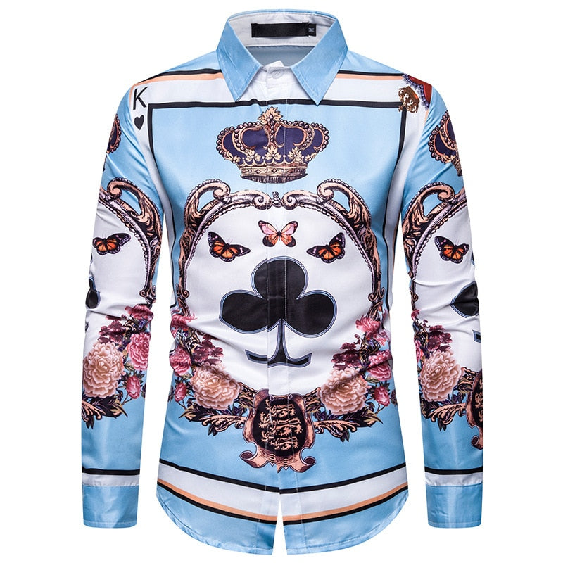 Luxury Gold Floral Print Shirt Men Fashions Royal Style Long Sleeve Shirts Men Dress Business Slim Camisa Social Masculina