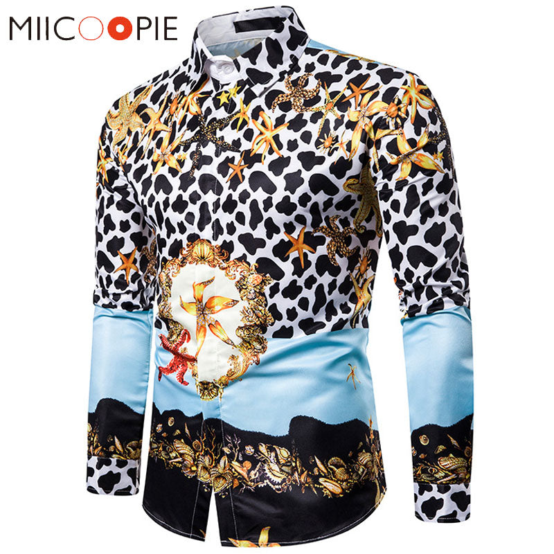 Leopard Print Men Shirt Long Sleeve Streetwear High Quality Luxury Floral Mens Dress Shirts Hip Hop Camisa Social Masculina 3XL