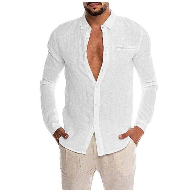 Autumn New Fashion Men's Loose Cotton Blend Solid Color Button Pocket Long Sleeve Shirt Tops Blouse