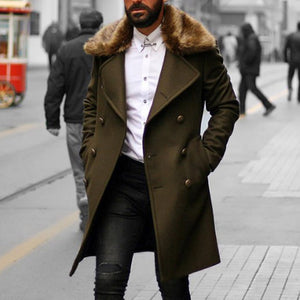 Coat Men Double Breasted With Faux Fur Collar Winter Long Coat Men Slim Fit Overcoat Trench Vintage Army Green Long Jacket Men