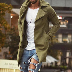 Men's Trench Coat Autumn Loose Mid Length Plain Plus Size Basic Outwear Windbreaker 3XL 4XL Causal Vintage Long Coat Tops