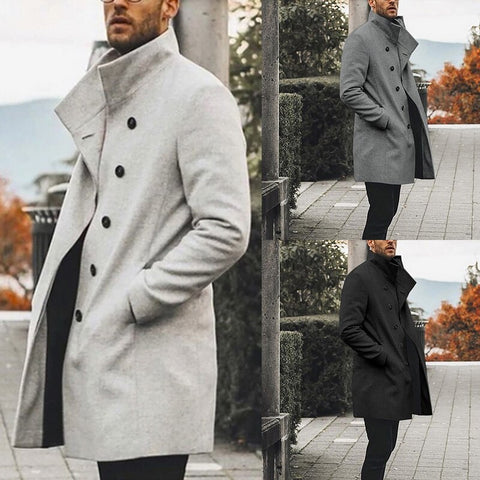 Overcoat Trench Mens Wild Standing Collar Single-Breasted  Coat Jacket Slim Solid Color Long Trench Jacket Casual Overcoat