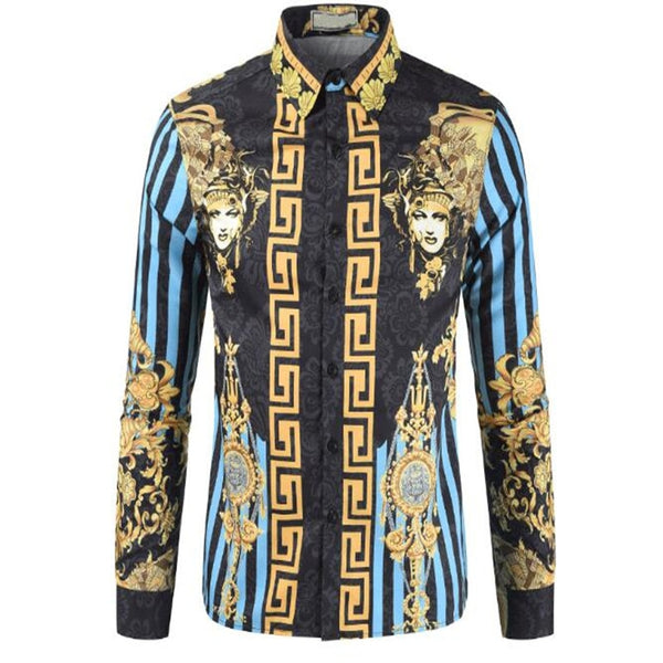 High-quality men's ethnic style casual fashion 3D printed shirt long-sleeve men's shirt in summer