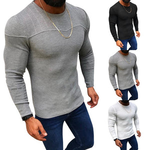 Men's Fashion Solid Color Knitted Pullover New Male O-neck Sweaters Casual Slim Fit Winter and Autumn Warm Sweaters