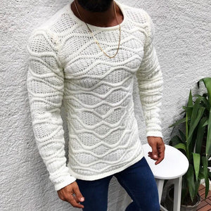 Oeak Men's Autumn Winter Round Neck Long-Sleeved Thin Sweater 2019 New Fashion Male Solid Color Slim Fit Sweaters