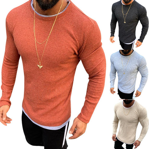 MJARTORIA Men's 2019 New Fashion  Slim Fit Pullover Sweaters Basic Knitted Lightweight Crew Neck Casual  Autumn Sweaters