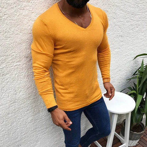 Men's Fashion V-neck Wool Knitted Pullovers New Males Winter Warm Long Sleeve Solid Color Soft Casual Slim Fit Sweaters