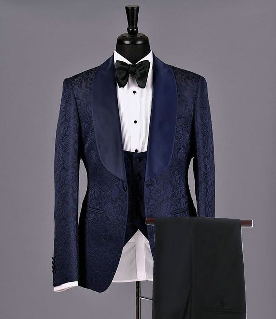 Mens Wedding Suits Italian Design Custom Made Black Smoking Tuxedo Jacket 3 Piece Groom Terno Suits For Men