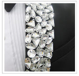 Black Men's Suits Sparkly Rhinestones Blazers Formal Groom Wedding Dresses Prom Party Male Singer Host Stage Performance Costume