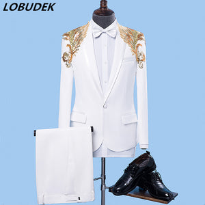 Male Formal Suits white Sequins Slim Blazers singer stage performance Costume Wedding Party Prom Host Chorus singer Stage suit