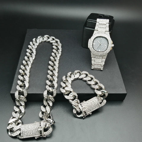 Luxury Gold Color Watch Crystal Miami Ice Out Cuban Chain Gold Silver Men Watch &amp Necklace &amp Bracelet Hip Hop jewerly set