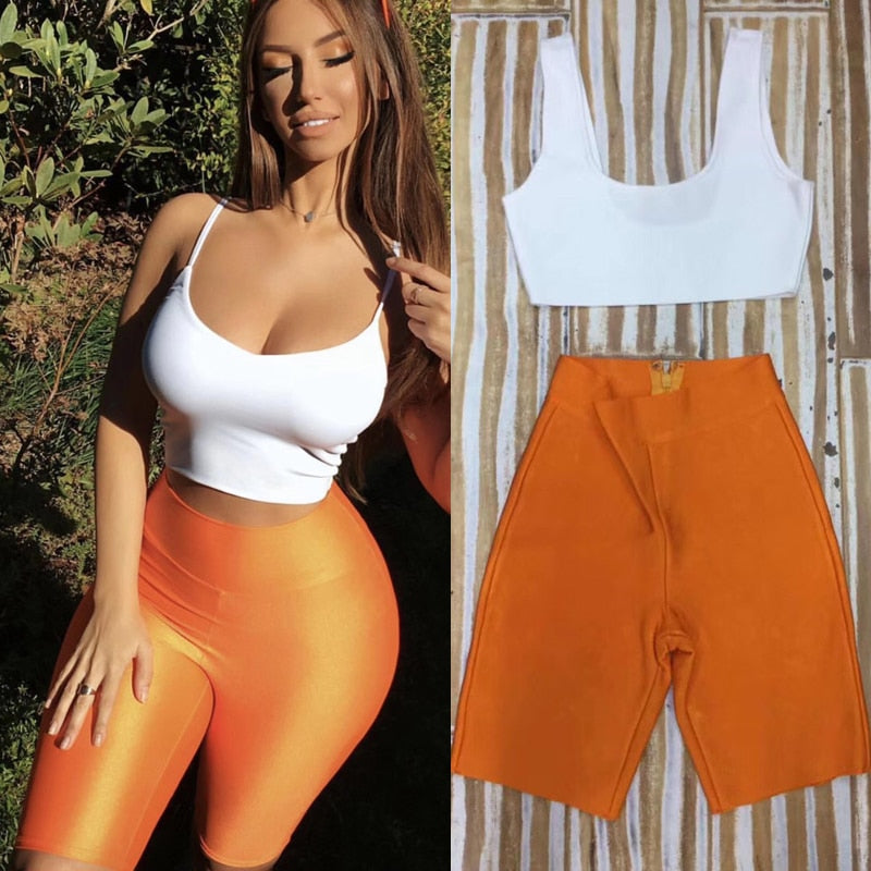 Fashion Women Two 2 Pieces Set Bandage Suit High Quality Rayon White Spaghetti StrapTop Bodycon  Orange Black Women Playsuit