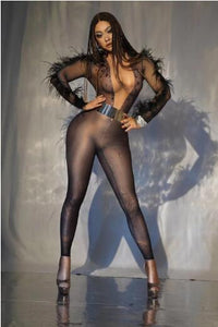 Black Rhinestones Feather Long Sleeve Jumpsuit Women Singer Bar Dancer Bodysuit Birthday Prom Nightclub Clothes