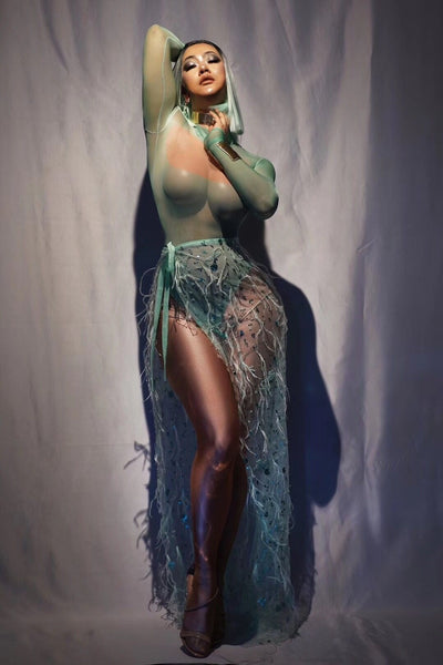 New Long Sleeves Bodysuit Green Sequins Mesh Feather Long Tail Outfit Women Dancer Bar Prom Bodysuit Outfit Set