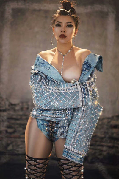 Sparkly Rhinestone Beads Loose Denim Jacket Outfit Fashion Design Dancer Dj Singer Stage Wear Nightclub Coat Performance Costume