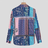 Shirts Men's Fashion Vintage Shirt Long Sleeved Casual Shirt Vacation High-Street Shirt Ethnic Style Hawaiian Beach Shirt