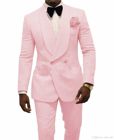 Custom Made Slim Fit Pink Mens Floral Prom Party Double Breasted Suit Men Wedding Suits Groom Tuxedos For Men (Jacket+Pants+Tie)