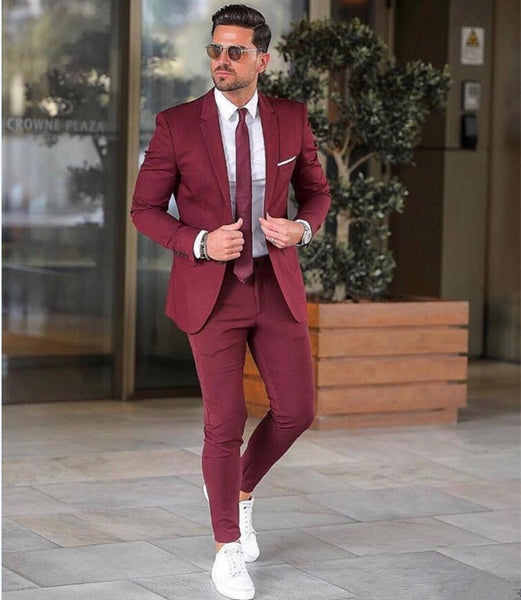 Elegant Custom Burgundy Men Suit Blazers For Party Prom 2 Pieces Jacket + Pants Groom Wedding Suits Notched Lapel Mens Tuxedos