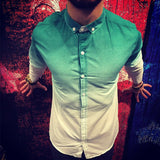 Brand casual men's shirt short sleeve striped color matching fashion business shirt fashion street clothing men's shirt