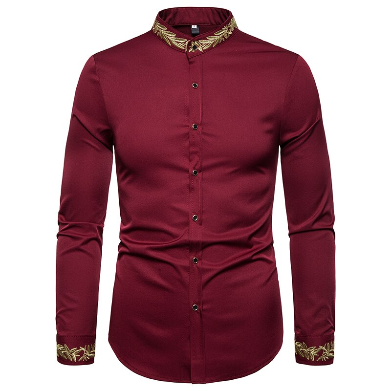 New Fashion Casual Shirt Men's Classic Lapel Print Shirt Men's Long-sleeved Self-cultivation Social Large Size Shirt