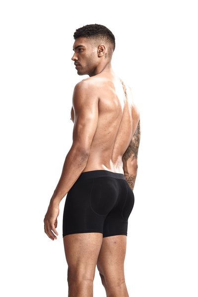 sexy boxer men underwear Men's Butt-Enhancing Padded Trunk Removable Pad of Butt Lifter and Enlarge Package Pouch White