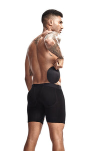 Long boxer men underwear Men's Butt-Enhancing Padded Trunk Removable Pad of Butt Lifter and Enlarge Package Pouch Black