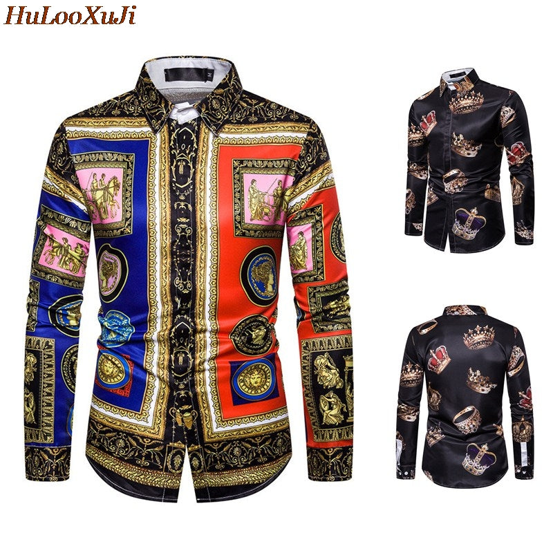 Men Luxury Shirts Casual Slim Fit Long Sleeve Male Vintage Printed Shirt Party Shirts US Size:M-3XL