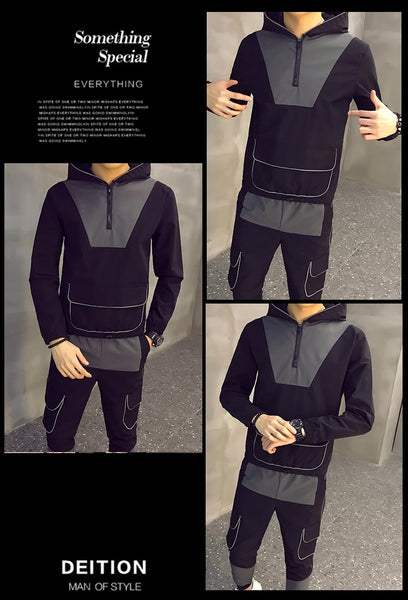 Autumn Men Causal Splicing Contrast Sets Camo Jacket+Pants 2Pc Tracksuit Sportwear Hoodies Sweatshirt &Pant Suit Plus Size 3xl