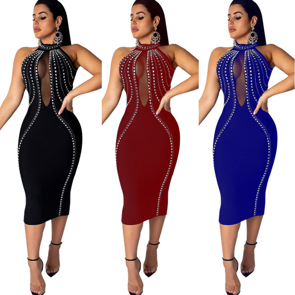 Women Sexy Party Dress Sleeveless Backless Diamonds Rhinestone Dresses Black See Through Mesh Bodycon Dress Femme S-5XL