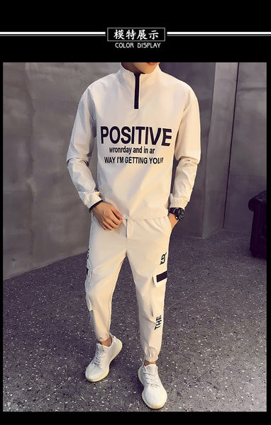 Men Causal Splicing Contrast Sets Camo Jacket+Pants 2Pc Tracksuit Sportwear Hoodies Sweatshirt &Pant Suit Trainingspak Heren