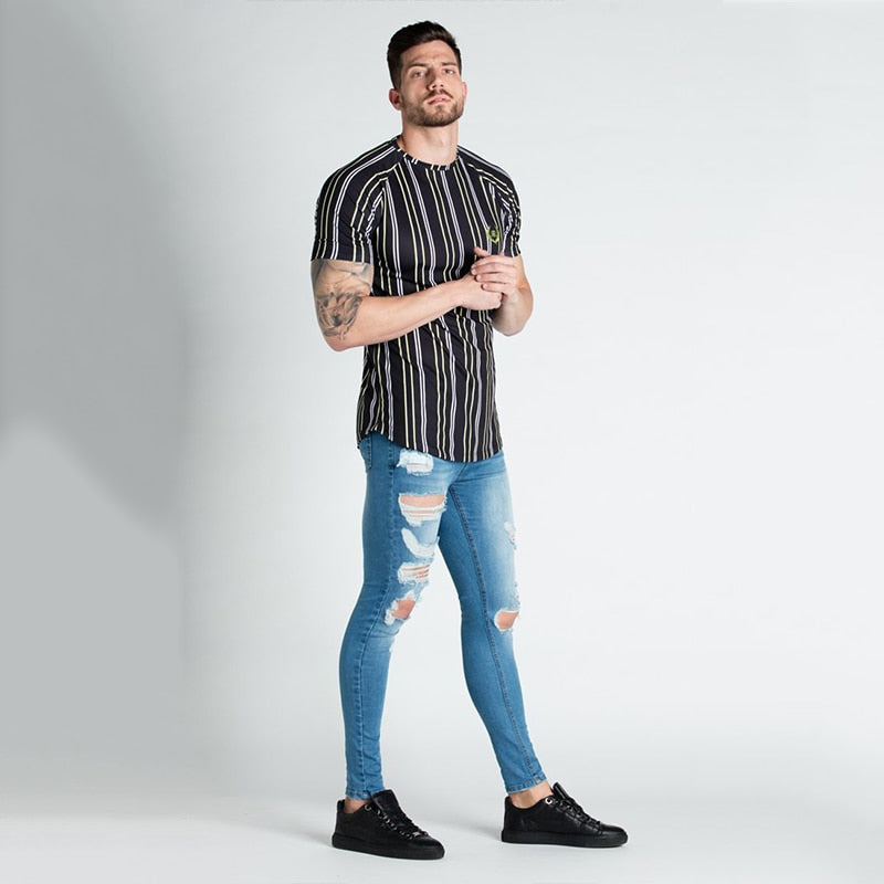 Casual Men T-shirt Stripe Summer Man Tshirt Fashion Tops Streetwear Male T-shirts Hip Hop Brand Clothing Mens Tee T Shirt Men
