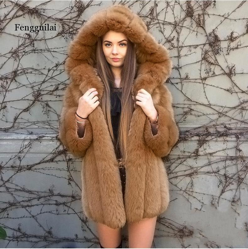 Elegant Faux Fox Fur Coat Women Winter Fashion Medium Long Artifical Fox Fur Coat Woman Warm Fake Fox Fur Coats