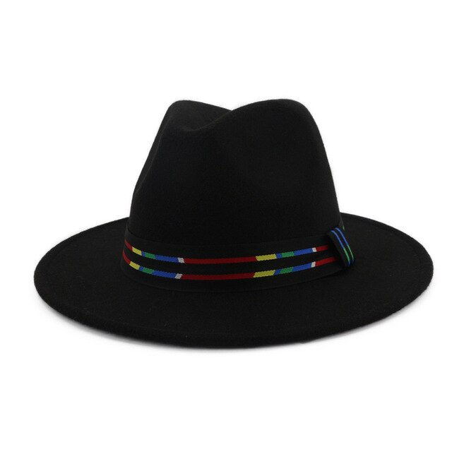 QIUBOSS Men Women Jazz Hard Felt Fedora Panama Wide Brim Felt Hat Striped Band Decorated Unisex Formal Top Hat Chapeau Trilby