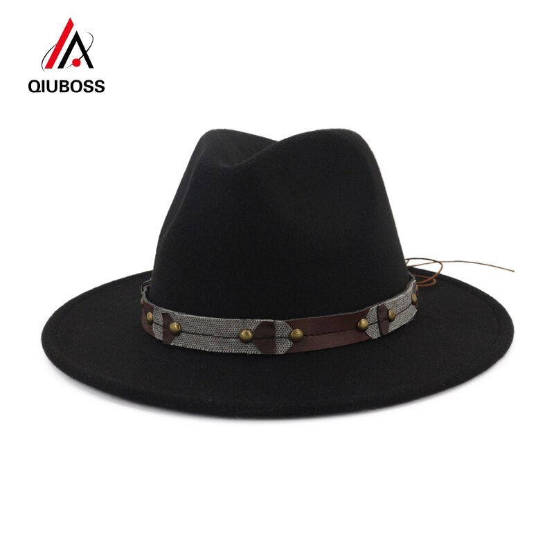QIUBOSS High Quality Wool Felt Fedora Hat Black Jazz Caps for Men Women Flat Brim Panama Trilby Fedoras Formal Top Hats QB16