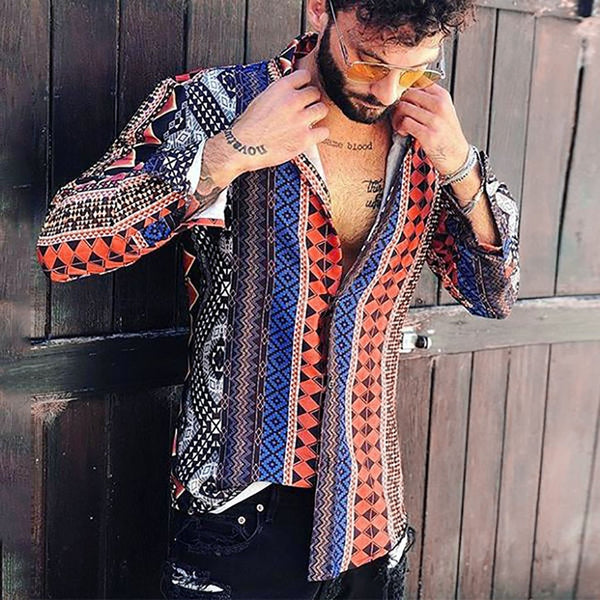 Mens Hawaiian Stripped Multi Color Shirts Slim Fit Stripe Streetwear Top Leisure Printed Shirt Beach Blouse camisa masculina