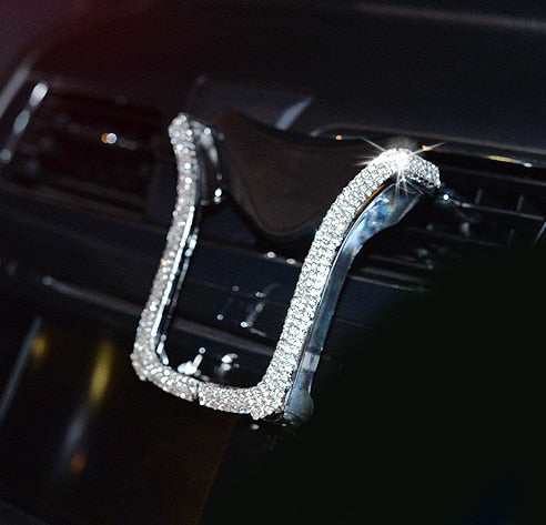 Universal Car Cell Phone Holder With Bing Crystal Rhinestone Car Vent Mount Clip Cell Phone Holder For iPhone Samsung Car Holder