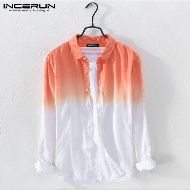INCERUN Men Lapel Collar Hanging Dyed Gradient Button Down Shirts Long Sleeve Breathable Thin Blouse Camisa Masculina Plus Size7