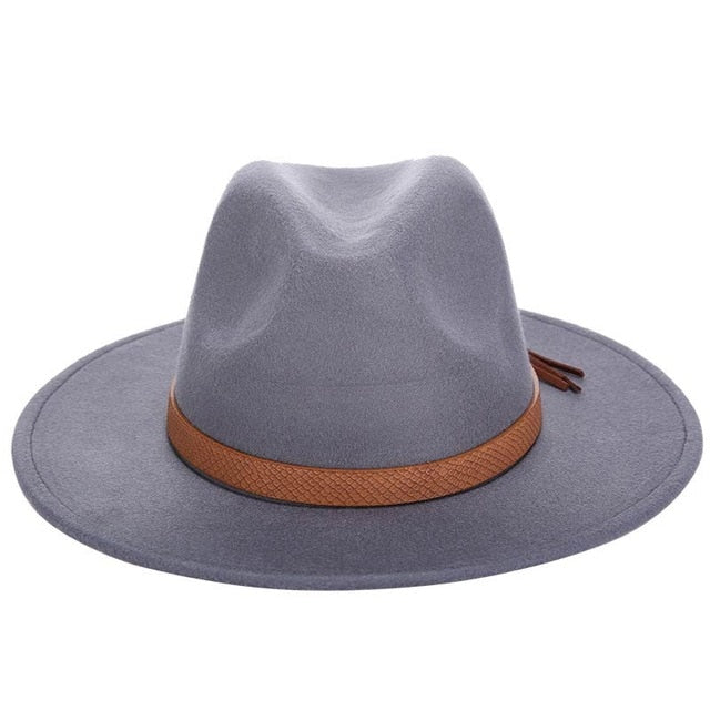 Autumn Winter Sun Hat Women Men Fedora Hat Classical Wide Brim Felt Floppy Cloche Cap Chapeau Imitation Wool Cap