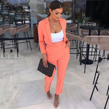 Casual Women Suits Office Sets Fluorescence Neon Green Suit Women 2020 Crop Top And Pant Suits For Women Blazer Set
