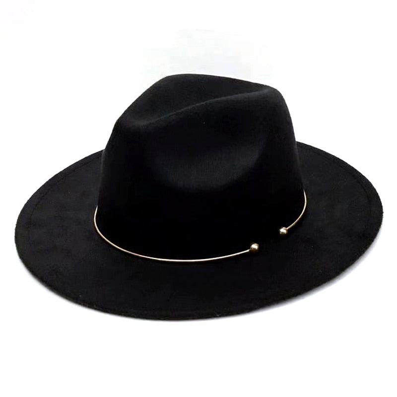 YOYOCORN Wool Fedora Warm Jazz Hat Chapeau Femme feutre Panaman hat Felt Women Fedora Hats with Pearls Belt Vintage Trilby Caps