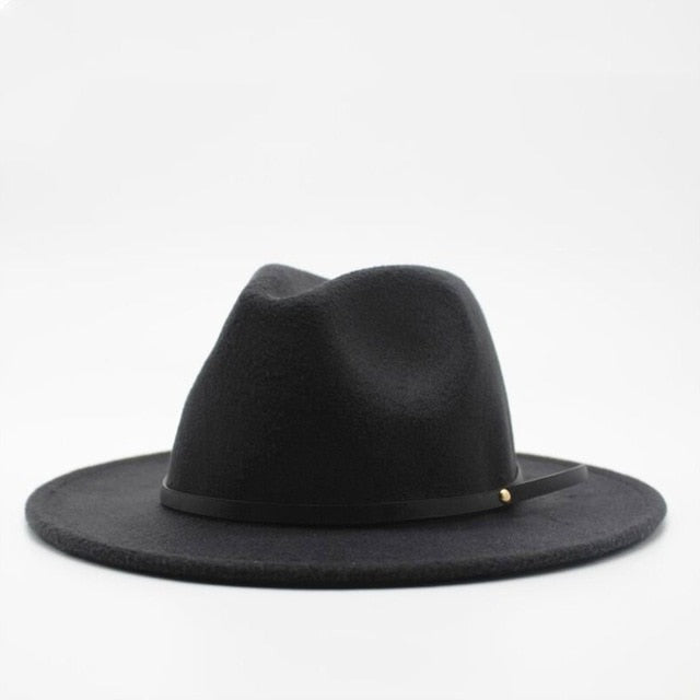 Wool Fedora Hat Hawkins Felt Cap Wide Brim Ladies Trilby Chapeu Feminino Hat Women Men Jazz Church Godfather Sombrero Caps